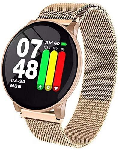 Pulsera de reloj inteligente redonda con Bluetooth, resistente al agua, para hombres y mujeres, pulsera de actividad física para Android IOS (color: acero dorado) y acero dorado