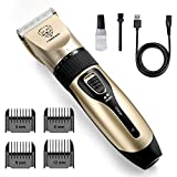 rabbitgoo Dog Grooming Clippers, Rechargeable Pet Hair Trimmer Doggy Grooming Kit, Electric Shaver Hair Remover Kit with 4 Guide Combs Low Noise Cordless Accessories for Pets/Dogs/Cats/Rabbits, Glod