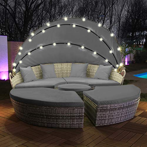 Swing & Harmonie Polyrattan Sonneninsel mit LED Beleuchtung + Solarmodul inklusive Abdeckcover Rattan Lounge Sunbed Liege Insel mit Regencover...