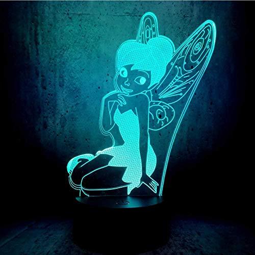 3D-Illusionslampe LED-Nachtlicht basteln Bell Lady Sitzhaltung Mädchen Schlafzimmer Schreibtisch Dekor Schlaf Ing Kinder Geschichte Mond Display