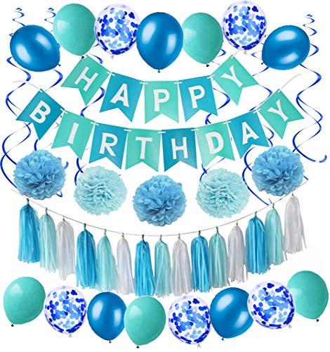 MAKFORT Happy Birthday Girlande Blau Hellblau Pompoms Luftballons Spiralgirlanden Geburtstag Deko Partydeko Set