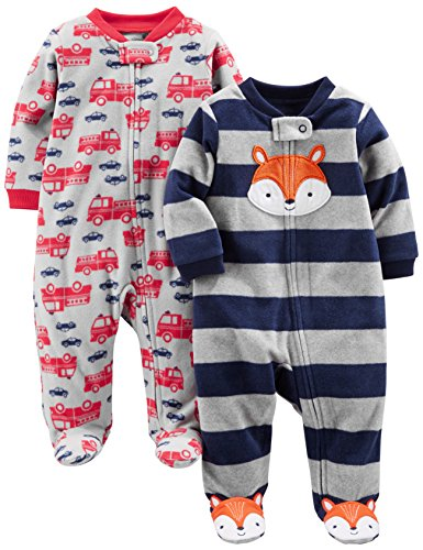Simple Joys by Carter's Baby Boys' 2-Pack Fleece Footed Sleep and Play, Navy Fox/Gray Fire Trucks, 0-3 Months