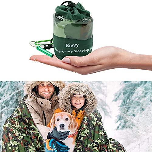 Saco de Dormir Emergencia,Bolsa de Supervivencia,Tienda de campaña de Emergencia,Saco de Dormir de Emergencia para Exterior,Mantas de Supervivencia,Bolsa de Dormir (Verde Militar)