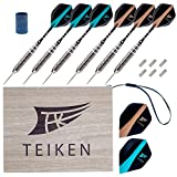 6 Pack Steel Tip Darts 21g Steel Barrel with Flights Protectors by Teiken - Aluminium Shafts, 8 Flights and Tip Sharpener for Beginners or Professional Players - Exquisite Wood-Like Case