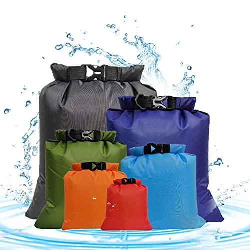 HBDY Paquete de 6 bolsas secas impermeables multicolores, bolsas de almacenamiento multifuncionales ligeras al aire libre para kayak, rafting, barco, deportes acuáticos
