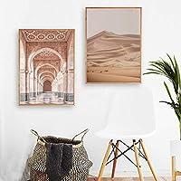 """砂漠のモロッコのドアの風景キャンバス絵画北欧のポスターとプリント壁のアート写真リビングルームの家の装飾27.6""""x35.4""""(70x90cm)2pcsフレームレス"""