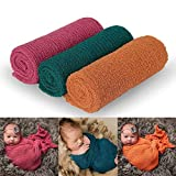 Newborn Photography Props, 3 Pcs Baby Stretch Wraps, Professional Baby Photo Props Long Ripple Wrap, for 0-6 Months Baby (Rose+Dark Green+Orange)