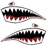 ABOOFAN 1 par de pegatinas de PVC decorativas de plástico creativo Dientes de tiburón patrón Kayak etiqueta inflable barco etiqueta engomada decoración