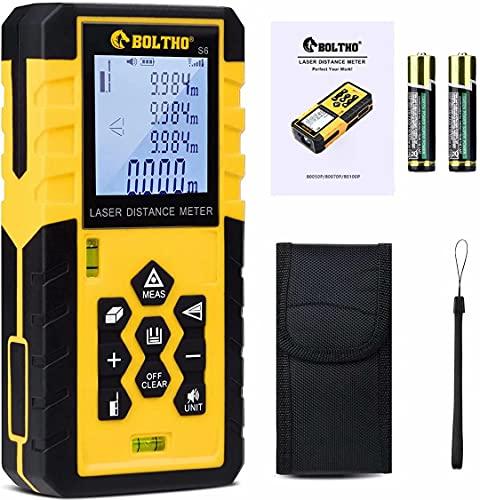 BOLTHO Medidor de Distancia 100M / 328FT, medición de Distancia láser Digital con 2 Niveles de Burbuja - LCD retroiluminado, área y Volumen, Nivel láser en Modo Pitágoras Clase II Tipo 630-650nm