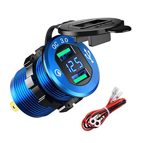 Presa per caricabatteria Quick Charge 3.0 Dual USB, caricatore USB 4.8A impermeabile con voltmetro LED per auto 12V/24V, barca, moto(Blu)