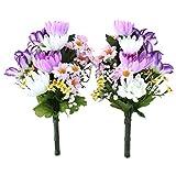 山久 造花 仏様のお供えに カラフルな 菊 の小花束一対 パープル系 1603-3987-pu CT触媒加工 シルクフラワー