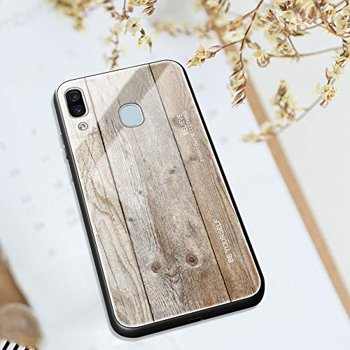 Ysimee kompatibel mit Samsung Galaxy A40 Hülle - Holz Design Gehärtetes Glas Zurück mit Weiche TPU Silikon Rahmen Schutzhülle Silikon Bumper Schutz vor Stoßfest/Scratch HandyHülle, Holz -4