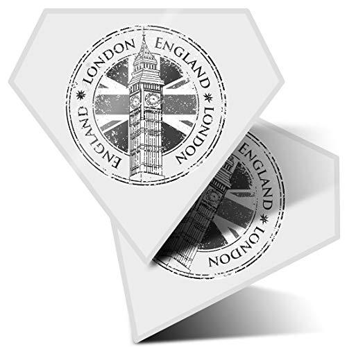 Impresionante pegatinas de diamante de 10 cm – Londres Inglaterra Reino Unido Big Ben Union Jack divertidos calcomanías para portátiles, tabletas, equipaje, libros de chatarra, frigorífico, regalo genial #40490