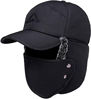 Men Winter Fur Lined Trapper Hat Ear Flaps Bomber Hats Ski Baseball Caps with Windproof Mask