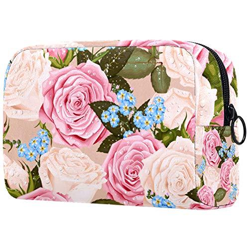 Bolsa de Maquillaje para Mujer Bolsas de cosméticos para niña Bolsa organizadora de artículos de tocador con Cremallera Hermosas Rosas con Gota de Agua