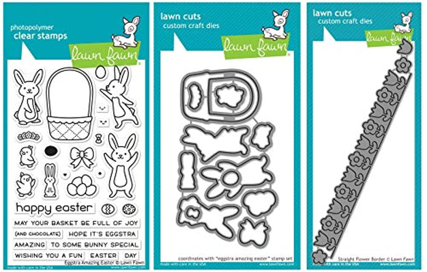 Lawn Fawn - Eggstra Amazing Easter Stamp and Die Set & Straight Flower Border Die - 3 Items