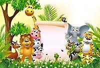 HD 7x5ftジャングルサファリ背景写真背景漫画動物園動物背景子供男の子女の子新生児誕生日ベビーシャワーパーティーの装飾写真ブース撮影ビニールスタジオの小道具