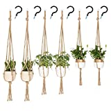 UUSHER Macrame Plant Hangers, Hanging Plant Holder Indoor Outdoor Plain Simple Jute Rope Plants Hangers Set with 6 Hooks Handcraft for Boho Home Decor and Space Saving (6 Pcs 3 Sizes)