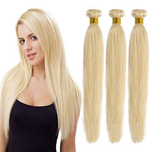 24 Pulgada Extensiones de Cabello Natural Cortina Lisa Brasileñas Pelo Mechas Humano Balayage Mujer Remy Human Hair Liso [ 3 Bundles (300g) ] - 60CM #613 Blanqueador Rubio