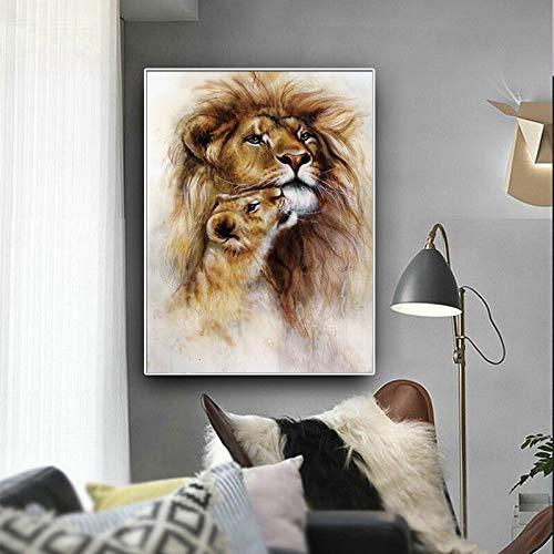 Geiqianjiumai Scandinavische stijl abstract canvas schilderij dier poster en druk leeuw muurschildering kinderen woonkamer decoratie zonder lijst schilderij