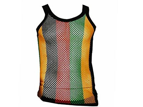 BUNFIREs Rasta Jamaica Jamaican Fest Mesh Vest Tank Top Beach Cover Mariner Shirt L