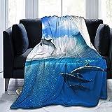 Mantas Ocean Dolphin Ultra-Soft Micro Fleece Blanket Súper Suave para Cama Sofá Sala De Estar, Manta De Tiro De 80 'x 60'