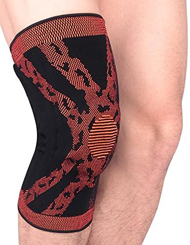 Rodilleras unisex con anillo de silicona, protección de rodilla, flexible, vendaje deportivo para mujer y hombre, color naranja M