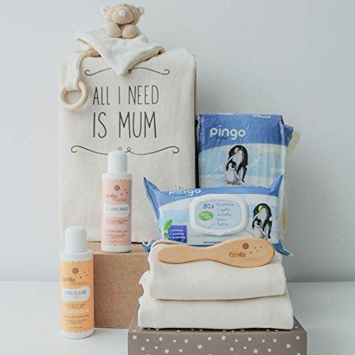Cesta bebé ecológica unisex - Incluye cosméticos para bebé naturales, cepillo natural, doudou mantita, ropa bebé 100% orgánica y más productos de puericultura.