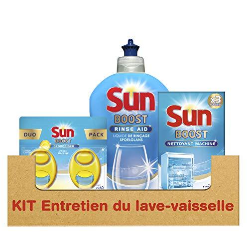 Sun Kit d'Entretien pour Lave-Vaisselle avec Désodorisant Liquide Rinçage/Nettoyant Machine 600 g