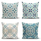 Ysahome Ikat Digital Print Pillow Cover - Moroccan Square Cushion Cover - Bohemian Throw Pillow Case - Mandala Theme Decorative Accent Pillow, 18x18 Inches, Blue White Cream, (Set of 4)