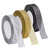Livder 3 Rolls 75 Yards in Total Metallic Glitter Ribbon for Gift Wrapping Birthday Holiday Graduation Party Decoration (Golden, Silvery, Silver-Black)
