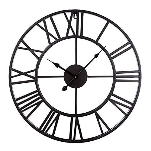 JYSXAD Reloj de pared retro de estilo antiguo, silencioso sin garrapatas, industrial, de gran tamaño, decoración de hierro forjado, reloj de pared, cocina, sala de estar, baño, bar, color negro
