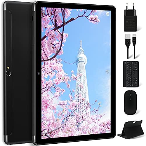 Tablet 10 Pollici 4G LTE+WIFI con 10.1   HD IPS MEBERRY Android 10 4GB RAM+64GB ROM 128GB Espandibili, 8000mAh, 2 Sim Slot, GPS, Fotocamera(5MP+8MP), GMS certificato, GPS, Tastiera e Mouse, Nero