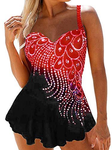 Kaei&Shi Peacock Feather Print Tankini Swimsuits for Women Tummy Control, Loose Swimdress Set, Skirted Bathing Suit Red Medium