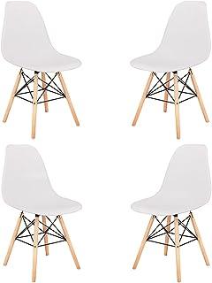 Juego de 4 sillas de comedor, de polietileno, para cocina, oficina, bar, blancas