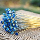 AESTHING Natural Dry Flowers Happy Flower Bundles-Flowers Bouquet for Wedding DIY Home Party 1 Bundle 50pcs Pack (Deep Blue)