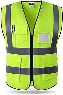 SK Studio Gilet de s/écurit/é R/éfl/échissant Haute Visibilit/é Class 2 Gilet Jaune//Vert Pour Auto//Velo Homme Vert XL