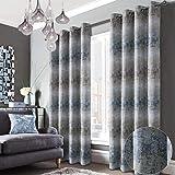 Always4u - Tenda da salotto con motivo elegante, per cucina, tenda e drappeggi, interni con occhielli per finestra, decorazione camera, bambino, confezione da 2, 140 x 260 cm, colore: Blu