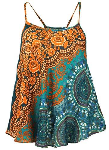 Guru-Shop Boho Trägertop, Sommertop, Damentop, Strandtop, Rostorange, Synthetisch, Size:40, Tops & T-Shirts Alternative Bekleidung