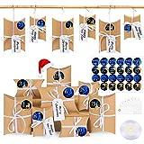 Wishstar Calendario De Adviento, 24 Navidad Cajas De Regalo PequeñAs, Cajas De Almohadas Papel Kraft Caja De Regalo PequeñA Navidad Fiesta Artesanias DecoracióN