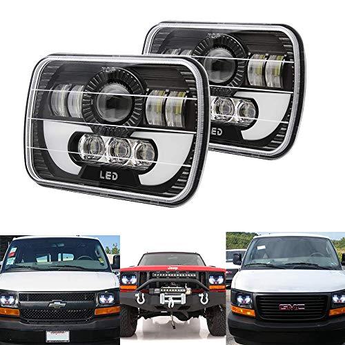 "AMUNIESUN 120W Rectangle 7x6"" 5x7"" Led Headlights 6052 6054 H5054 H6054 Led Headlight DRL Hi/Low Sealed Beam H4 Plug For GMC Ford Chevy Chevrolet Cargo Van Express Nissan"