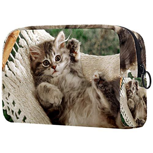 Kosmetiktasche Reise Katzenhängematte Make-Up Taschen Wasserdichte Organizer Multifunktions Fall mit Reißverschluss Kulturbeutel für Frauen 18.5x7.5x13cm