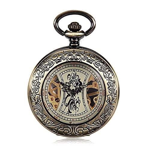 Reloj de Bolsillo con Estilo clásico.Reloj de Bolsillo y Cadena de Reloj de Bolsillo,maquinaria Vintage de Concha Calada en Relieve,como día del Padre/Regalo para Ancianos/Aniversario/Navi