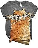 Photo de T-Shirt Femme Imprimé à Manches Courtes, Morbuy Été Col Rond Chemisier Sauvage 3D Chat Mignon Drôle à Motif Fashion Casual Confortable Loose Tee Shirt Blouse Haut Tops (Garfield-Gray,S)