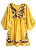 FUTURINO Damen Sommerkleid Bohemian Stickerei Floral Tunika Shift Bluse Flowy Minikleid,02 Gelb,M