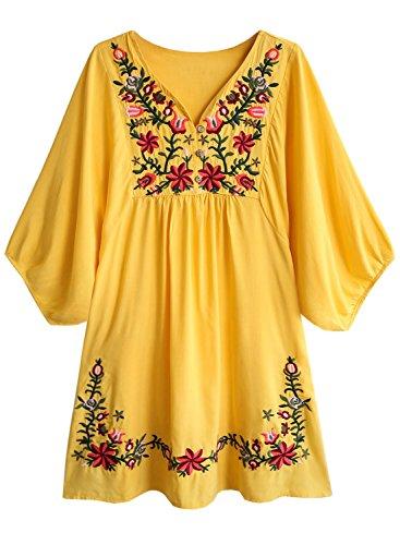 Doballa Damen Boho Tunika Hippie Kleid Gestickt Blumen Mexikanische Bluse, Senf Stern Blume, XL