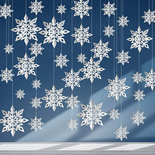 24 Guirnaldas Colgantes de Copo de Nieve 3D de Navidad Copos de Nieve Grandes de Plata Brillantes con Cuerda para Decoración de Navidad Invierno Mundo Maravilloso, 3 Tamaños