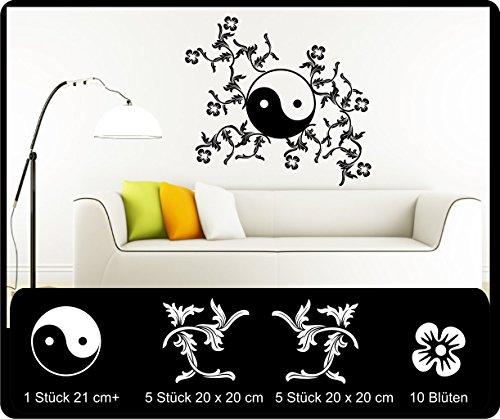Sticker mural Yin Yang avec ornements Yin séparer autocollant autocollant pour voiture sticker mural 60 cm dans 33 couleurs mat ou brillant - Gris mat