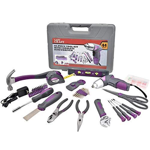Werktough 44PCS 3.6V/4V Cordless Screwdriver Tool Kit Set Pink Color Tools Lady Tools Kit Home Repair Set Toolbox Hand Tool Kit Storage Case Gift Set LADYCRAFT