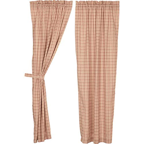 VHC Brands Rustic Tacoma Rod Pocket Cotton Tie Back(s) Plaid Curtain, Panel Set 84x40, Red